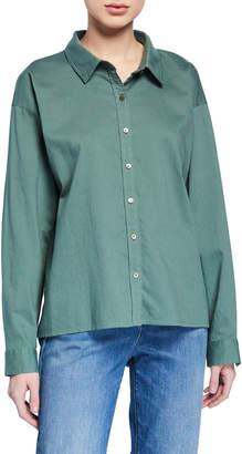 Eileen Fisher Button-Down Long-Sleeve Organic Cotton Twill Shirt