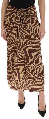 Ganni Tiger Swirl Wrap Maxi Skirt