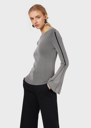Emporio Armani Sweater With Contrasting Ribbing And Flared Sleeves