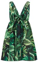 Dolce & Gabbana Tie-strap Jungle-print Cotton Mini Dress - Womens - Green Multi