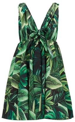 Dolce & Gabbana Tie-strap Jungle-print Cotton Mini Dress - Green Multi
