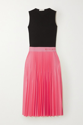 Givenchy Two-tone Pleated Satin And Crepe Midi Dress - Black