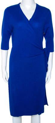 Diane von Furstenberg Blue Cashmere Coen Wrap Dress L