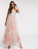 Needle & Thread embellished cami maxi dress in bloom print