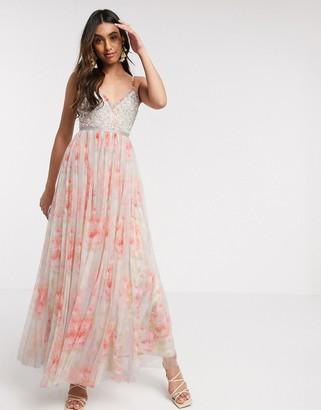 Needle & Thread embellished cami maxi dress in bloom print