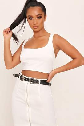 I SAW IT FIRST White Square Neck Zip Back Bralet