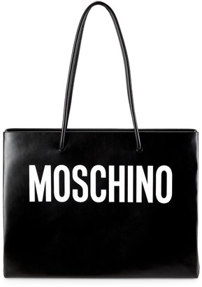 Moschino Logo Convertible Leather Tote