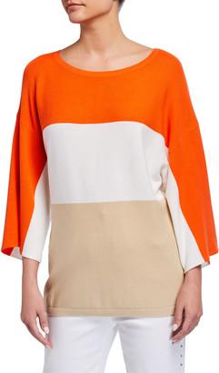 Joan Vass Petite Colorblock Jersey Stitch Sweater