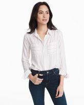 White House Black Market Button-Front Stripe Shirt