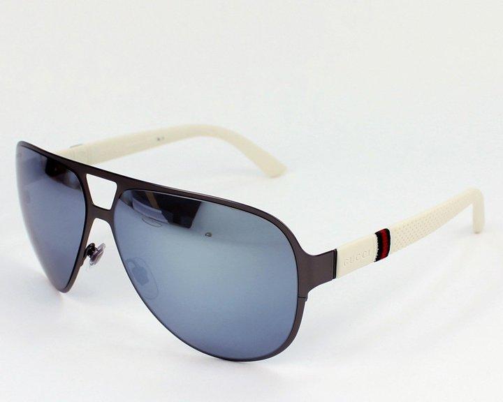 Gucci 2252S R8XT7 Gunmetal 2252S Aviator Sunglasses Lens Category 3 Lens Mirror