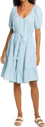 Rebecca Taylor Double Gauze Tie Waist Dress