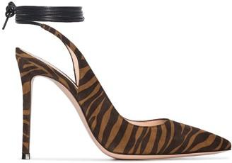 Gianvito Rossi 105mm Zebra Ankle Tie Pumps