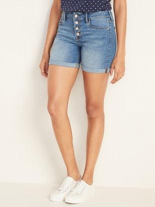Old Navy Mid-Rise Button-Fly Mid-Length Jean Shorts for Women -- 5-inch inseam