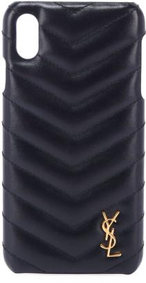 Saint Laurent Monogramme iPhone XS Shiny Calfskin Phone Case, Black