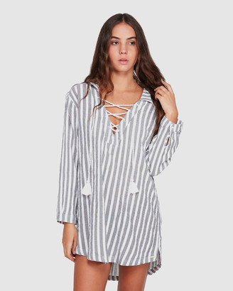 Roxy Womens Lonely For You Oversized Short Sleeve Shirt Dress