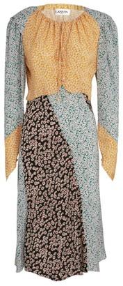 Lanvin Floral Patch Midi Dress