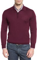 Brioni Cashmere-Silk Quarter-Zip Polo Sweater, Burgundy