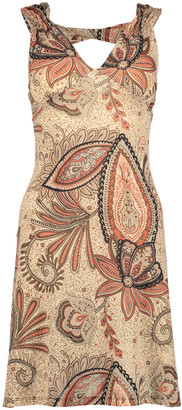 Modern Touch Women's Casual Dresses Tan - Taupe Paisley Cutout V-Neck Dress - Women