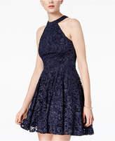 B. Darlin Juniors' Glitter Lace Halter Dress