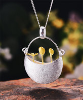 Lotus Fun Women's Necklaces silver+gold - Goldtone & Sterling Silver Flower Basket Pendant Necklace