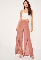 Missguided Pink Slinky Split Front Wide Leg Trousers