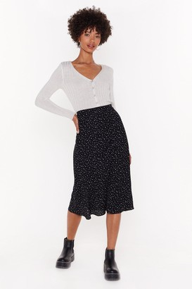 Nasty Gal Womens Star Gazing Polka Dot Midi Skirt - Black - 6, Black