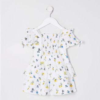 River Island Mini girls White poplin floral print dress