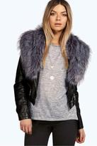 Boohoo Bella Biker Jacket With Faux Fur Collar