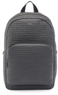 HUGO BOSS Grained Leather Backpack With All Over Embossed Monograms - Black