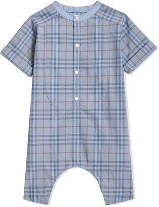 BURBERRY KIDS Bib Detail Check Cotton Jumpsuit