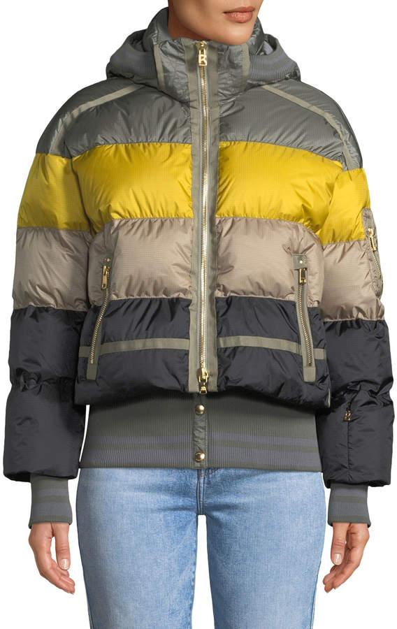 Bogner Velia Striped Puffer Coat w/ Hood