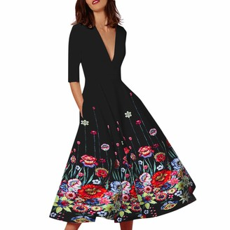 Harrystore Dresses HARRYSTORE Women's Cocktail Dress Deep V Neck High Waist Vintage Midi Swing Dress Elegant Vintage Long Ball Gown Prom Print Ladies Party Dresses Red