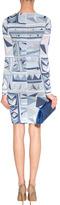 Emilio Pucci Tonal Sky Blue Draped Wool Dress