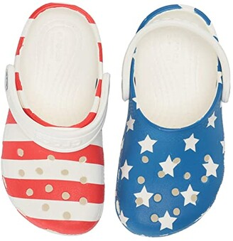 Crocs Classic American Flag Clog (Toddler/Little Kid) (White/Multi) Kids Shoes