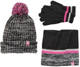 ZeroXposur Girls 4-16 Sparkle Marled Pom-Pom Hat, Neckwarmer & Gloves Set