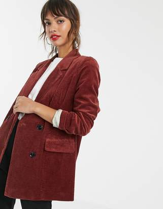 Vero Moda cord double breasted blazer-Brown