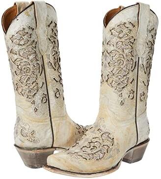 Corral Boots Kids T0021 (Little Kid/Big Kid) (White) Cowboy Boots