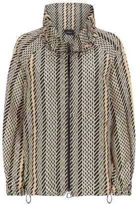 Akris Lightweight Tweed Print Hooded Jacket