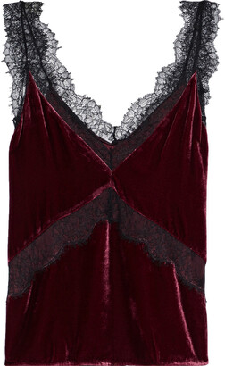 CAMI NYC The Josie Chantilly Lace-trimmed Velvet Camisole