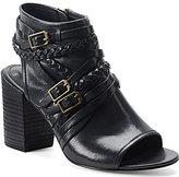 Isola Leonora Leather Braided Strap & Buckle Peep-Toe Block Heel Sandal