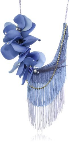 Reason to be Pretty Blue Floral, Fringe and Crystals Necklace