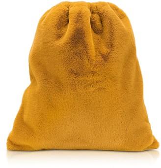 Mm6 Maison Martin Margiela Fresia Yellow Furry Drawstring Backpack