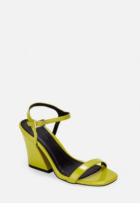 Missguided Yellow Patent Flared Heel Sandals