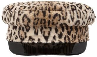Borsalino Printed Leopard Faux Fur Sailor Hat