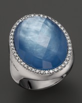 Roberto Coin 18K White Gold Fantasia Blue Topaz, Lapis and Mother-of-Pearl Triplet Cocktail Ring with Diamonds