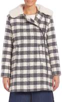 See by Chloé Women's Oversized Checkered Faux Fur Coat