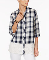 Style&Co. Style & Co Cotton Lace-Hem Plaid Shirt, Only at Macy's