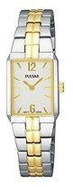 Pulsar Women's PTA414 Dress Rectangular Silver Dial Two-Tone Watch