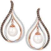 LeVian Le Vian Chocolatier® Fresh Water Pearl (8mm) and Diamond (7/8 ct. t.w.) Drop Earrings in 14k White and Rose Gold