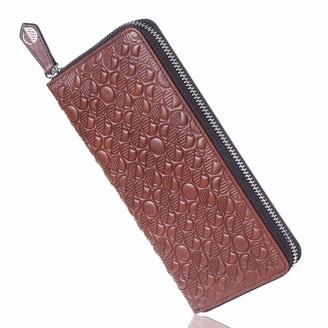 Luxury English Leather Ladies 12 Card Zip Around Purse & Wallet In Rich Brown